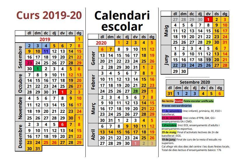 Resultado de imagen de calendari escolar 19-20 caib